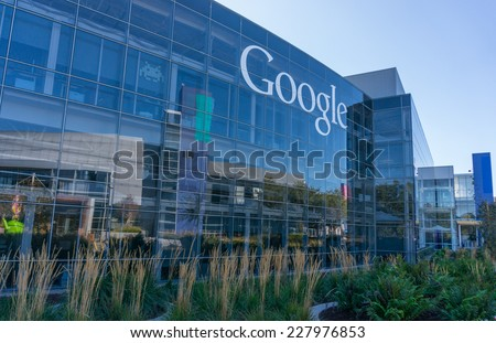MOUNTAIN VIEW, CA/USA - NOV 2, 2014: Exterior view of Google office. Google is a multinational company specializing in Internet related services and products, and it's the best place to work in 2014. - stock photo