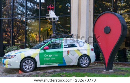 MOUNTAIN VIEW, CA/USA - NOV 22, 2014: Google maps street view car in front of Google office. Google is a multinational company specializing in Internet related services and products. - stock photo