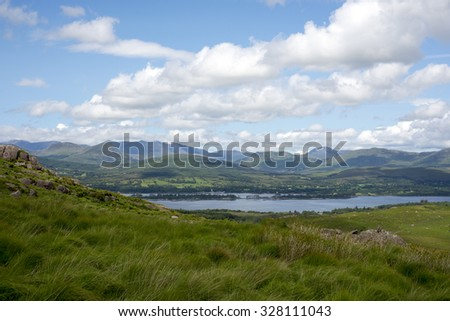 mountain view from the kerry way walk in ireland - stock photo