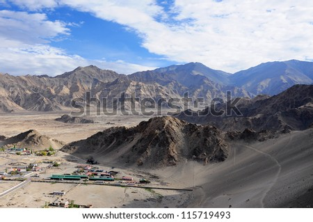 Mountain view from Thiksey monastery, India - stock photo