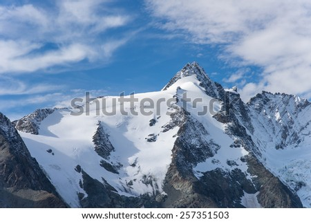 Mountain view of  Franz Josefs Hohe Glacier, Hohe Tauern National Park, Austria - stock photo
