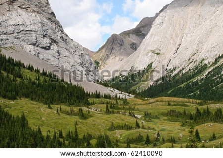 Mountain views from Elbow Pass, Peter Lougheed Provincial Park Kananaskis Country Alberta Canada - stock photo