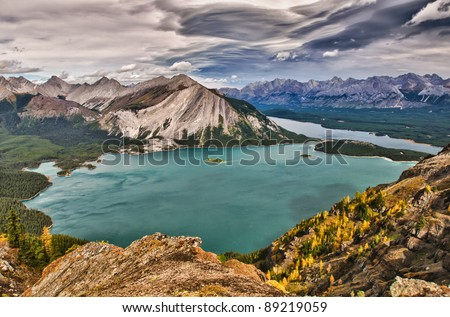 Mountain views of Rawson and Kananaskis Lakes Area Peter Lougheed Provincial Park, Kananskis Country Alberta Canada - stock photo