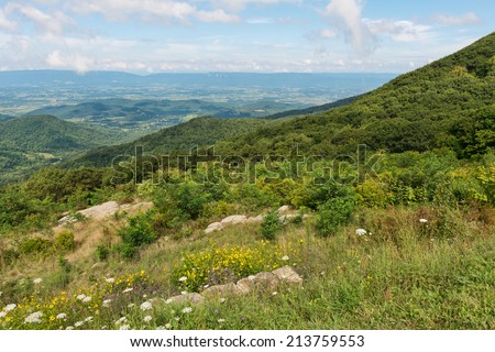 Mountain Vista from Timber Hollow Overlook, Skyline Drive, Shenandoah National Park, Virginia - stock photo
