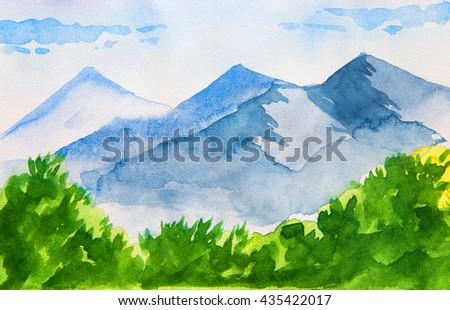 mountain watercolor - stock photo