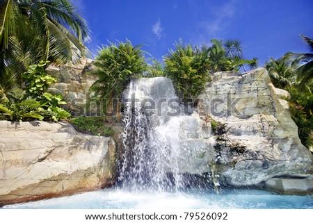 Mountain waterfall in malaysia rainforest. Langkawi. - stock photo