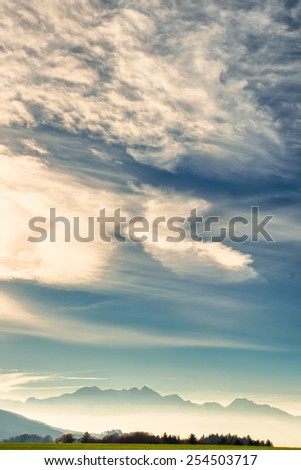 mountain wendelstein and bavarian alps silhouette - stock photo