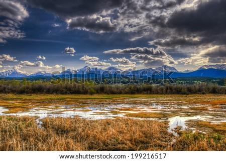 Mountain Wetlands, British Columbia, Canada in springtime - stock photo