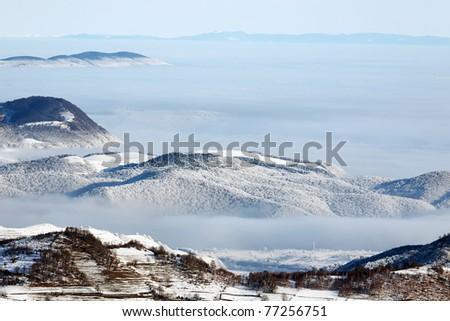 Mountain winter landscape - stock photo