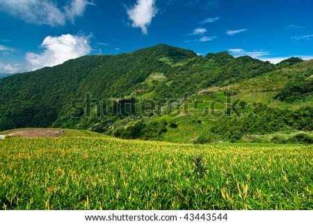 mountain with beautiful cloudscape background - stock photo