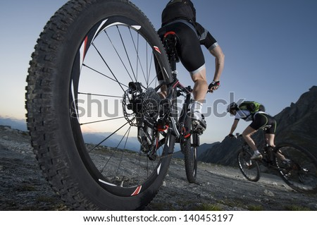 Mountainbike downhill - Mountain biking Dolomites South Tyrol - stock photo