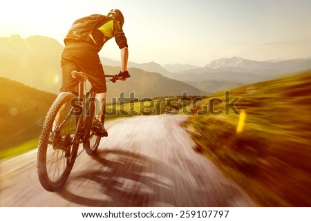 Mountainbike in the Mountains - stock photo