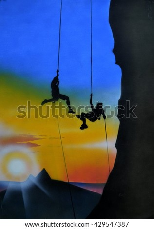 mountaineering in the background of  sunset - stock photo