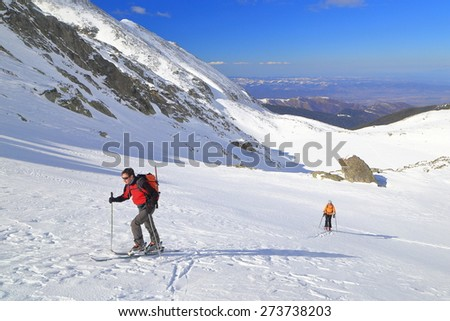 Mountaineers ascending on touring skis on a wide sunny mountain face  - stock photo