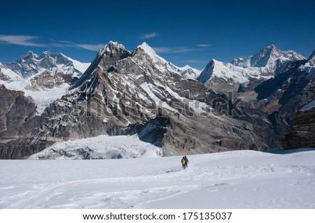 Mountaineers with Himalayas of Nepal - stock photo