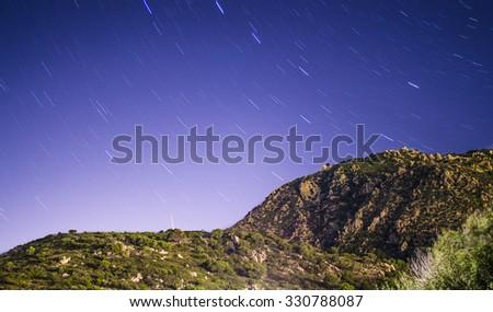 Mountainous landscape stars polar. Villasimius in Sardinia - stock photo
