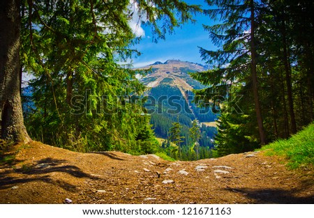 Mountainous landscape view in spring, Low Tatras, Slovakia - stock photo