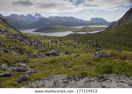 Mountainous scenery Krystad, Norway - stock photo