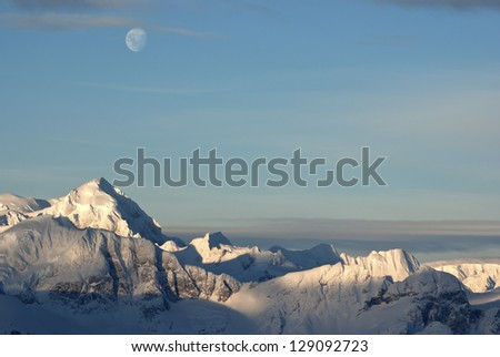 Mountainous western coast of the Antarctic Peninsula summer sunny day. - stock photo