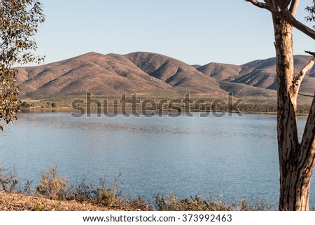 Mountains and lake at Lower Otay Lake in Chula Vista, California - stock photo