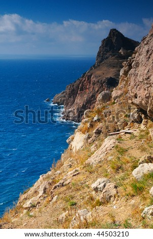 mountains and the sea - stock photo