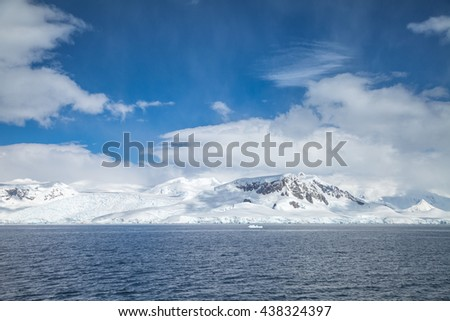Mountains are covered with snow in antarctic for landscape. - stock photo