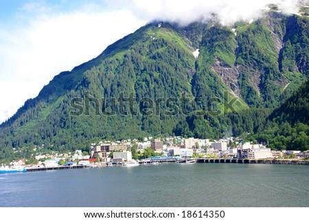 Mountains as backdrop to Alaska state capital,Juneau,Alaska - stock photo