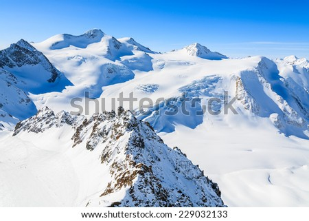 Mountains covered with snow in ski resort of Pitztal, Austrian Alps  - stock photo