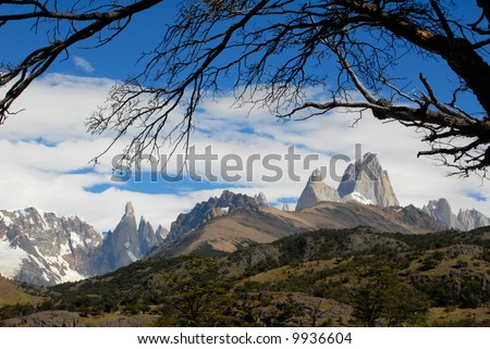 Mountains Fitz Roy and Cerro Torre from El Chalten. Glaciares National Park, Patagonia, Argentina. - stock photo