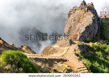 Mountains in clouds - stock photo