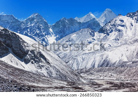 Mountains in Everest region, Himalaya, east Nepal - stock photo