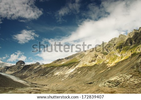 Mountains in Grossglockner region, fotograph made with gradient filter - stock photo