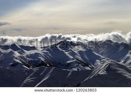 Mountains in sunset. Caucasus Mountains, Georgia, Gudauri. - stock photo
