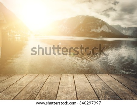 mountains in village Hallstatt in the Austrian Alps, region of Salzkammergut - stock photo