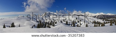 Mountains in winter, panorama - stock photo