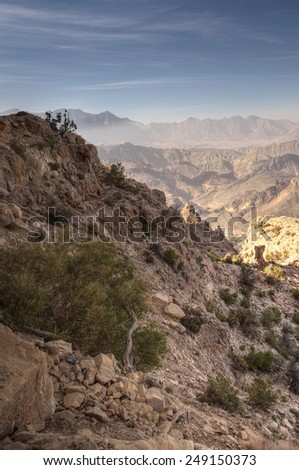 Mountains, Jabal Nakhal, Sultanate of Oman - stock photo