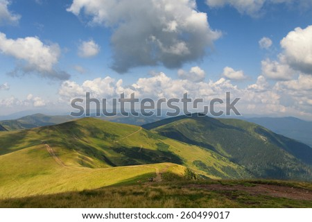 Mountains landscape. Carpathian Mountains. summer - stock photo