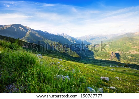 Mountains landscape from mountains pass. Pyrenees - stock photo