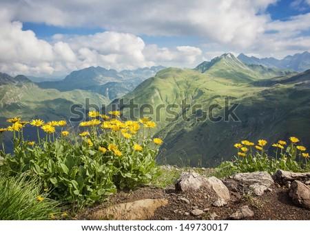 Mountains landscape in Vorarlberg, Austria - stock photo