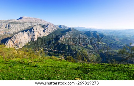 Mountains landscape in winter day. Andalusia, Spain  - stock photo