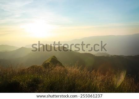 mountains landscape,The light of the morning sunrise - stock photo