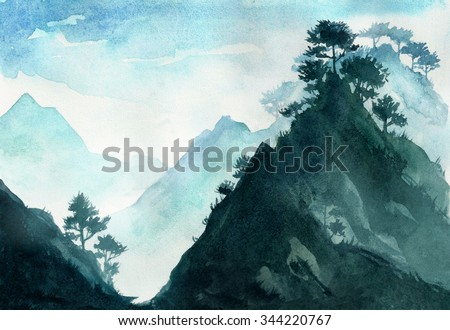 Mountains landscape. Watercolor illustration. - stock photo