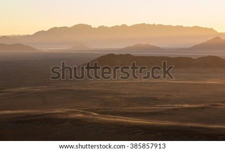 Mountains near Sossusvlei from Balloon aerial view in Namibia - stock photo