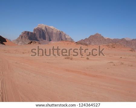 Mountains of Wadi Rum Desert in Jordan - stock photo