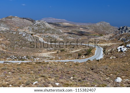 Mountains of Zakros at Crete island in Greece. Road to traditional village of  Sitanos - stock photo