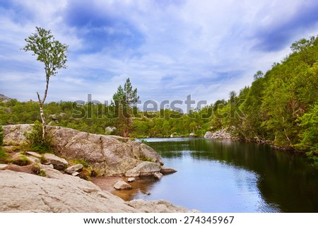 Mountains on the way to the Preachers Pulpit Rock in fjord Lysefjord - Norway - nature and travel background - stock photo