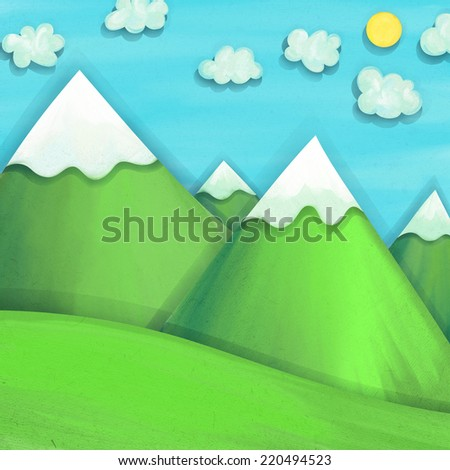 Mountains. Painted paper collage with 3D look. - stock photo