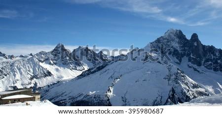 Mountains panorama Mont Blanc and Chamonix view. France. Petit Dru  - stock photo