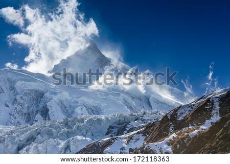 Mountains peak. Himalayas. Nepal - stock photo