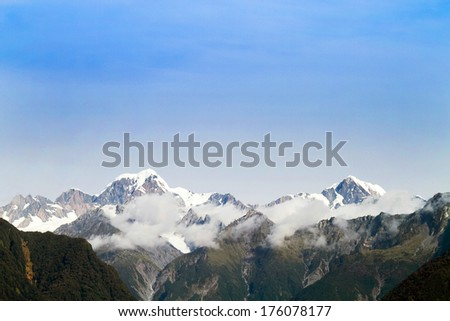 Mountains peak, Mount Cook in New Zealand - stock photo